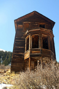 Walsh House with its prominent bay window in Animas Forks, Colorado.