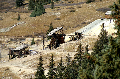 Structural ruins of the Columbus Mill in Animas Forks, Colorado.