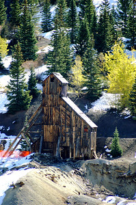 Headframe for the Yankee Girl Mine in Guston, Colorado.  The mine opened in 1882 and had a shaft reaching 1,200 feet deep to get to the silver before closing.