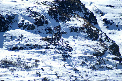 One of the many tram towers in the surrounding mountains that feed into the Frisco Mill.