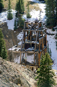 One of the mining structures located in Red Mountain, Colorado.  There is not much left today.  An estimated $30 million dollars in gold was produced from the mines in the area.