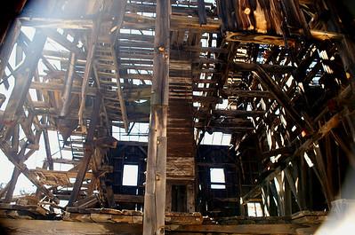 Maze work of lumber inside the Frisco Mill.