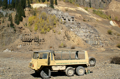 Our tour guide took us out in a Pinzgauer, a Swiss military vehicle.  It offered a great view of the Sunnyside Mill ruins seen here in Eureka, Colorado.