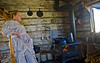 Rustic Pioneer Woman Cooking up some Grub in the Cabin - Nevada City Ghost Town - Photo by Pat Bonish