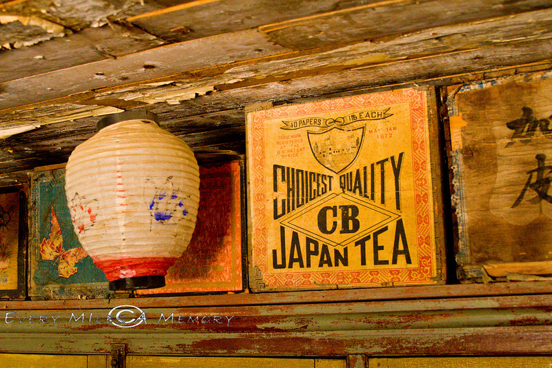 Chinese Lantern and some Boxes of Chinese Teas - China Town in Nevada City Montana - Photo by Cindy Bonish