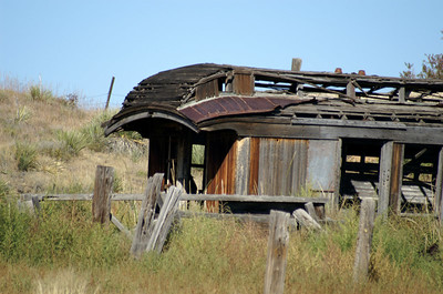 Closer view of passenger car in Colfax, New Mexico.  It would be interesting to know what railroad it came from.