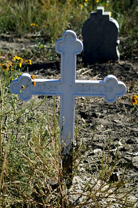 One of the 383 white crosses that represents the miners killed by explosions.