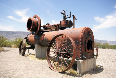 Remains of engine used to operate a cotton gin and irrigation pumps in Castolon, TX.