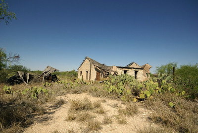 Collapsing home in Langtry, TX.  Langtry began as a grading camp for the Southern Pacific Railroad.  It also home to famous Texan, Judge Roy Bean.  Bean operated a saloon, and when he was appointed justice of the peace, he held court in his saloon.