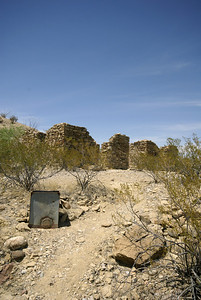 Former ranch house near Castolon, TX.  The metal object in foreground is part of a water pump.