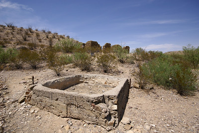 Former ranch house near Castolon, TX with remains of a livestock tank