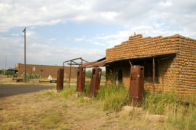 Photo of the business area in the ghosttown of Medicine Mound, TX.
