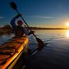 USA, Washington State, Seatte. Male sea kayaker in Union Bay on Lake Washington, Seattle, WA at sunrise.