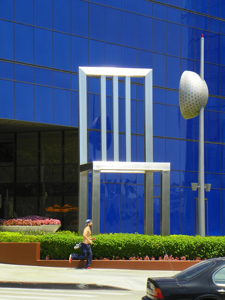 Giant 25' stainless steel Chair at Pacific Design Center in West Hollywood