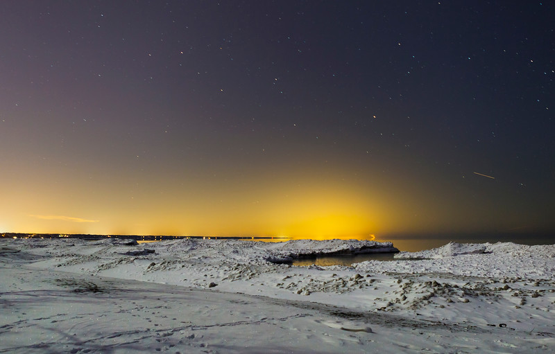 Presque Isle Ice Dunes Night Stars
