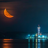 Half Moon over City