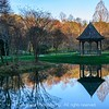 Gazebo and pond at sunset