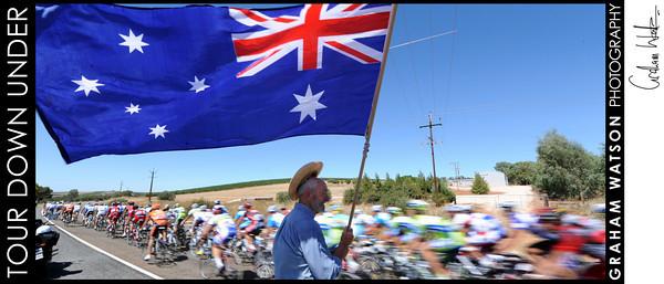 A fan salutes the 2010 Tour Down Under