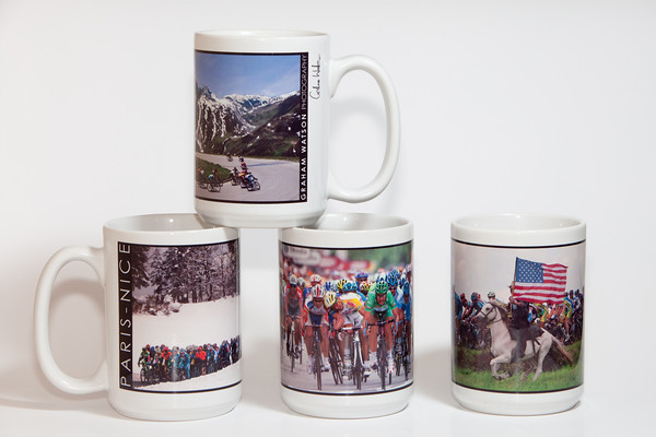 A photo of a few of our mugs. The image wraps almost from handle to handle, in full color, letting you enjoy some of Graham's most stunning photos as you enjoy your favorite hot beverage.