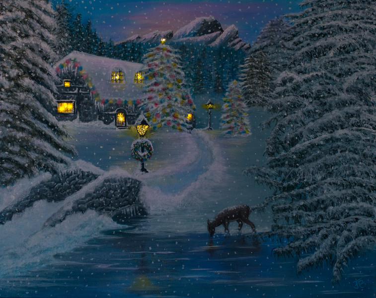 Evening at the Christmas cottage (lighted night version is only available with purchase of original)