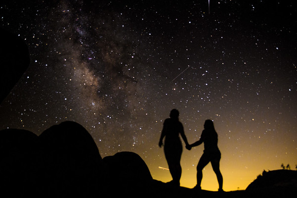 Sisters Under the Precede Meteor Shower- Joshua Tree National Park