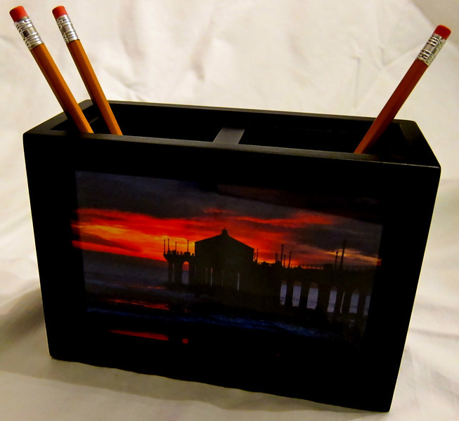 Photo Pencil Holder - color: Black<br /> Contains (2) images, one on each side of container.<br /> (Limited quantities available)
