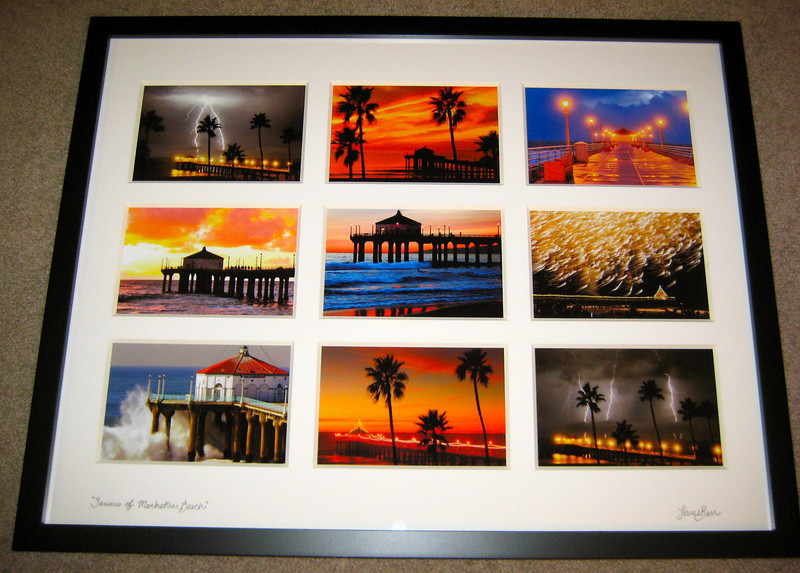 """Season's of Manhattan Beach. 9 image collage (black frame/white mat)"
