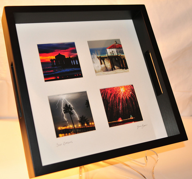 """Photo Tray.  4 images matted underneath glass.  Tray is a dark mahogany wood finish.  Dimensions:  10"""" X 10"""".  Any of my images can be incorporated into this photo tray."""