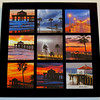 """Seasons of Manhattan Beach Game Set"". Tic Tac Toe - glass game set featuring seascape photography of the Manhattan Beach Pier, Manhattan Beach, CA. Includes glass ""X's"" and ""O's"" game pieces.<br /> Overall dims: 11.5"" X 11.5"" square."
