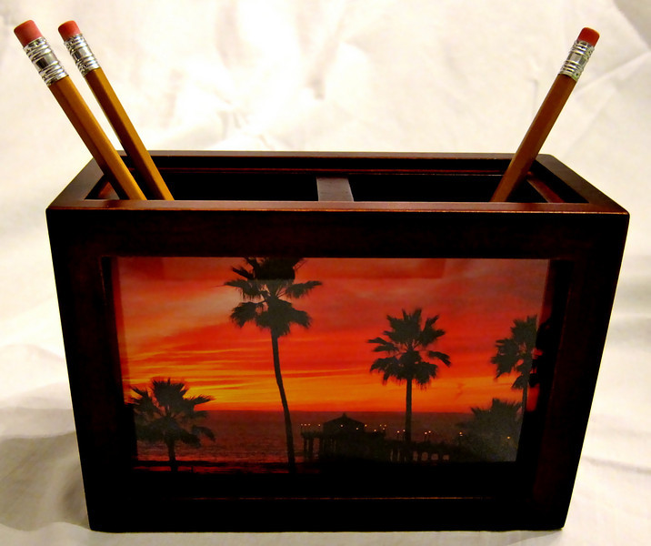 Photo Pencil Holder - color: Mahogany<br /> Contains (2) images, one on each side of container.<br /> (Limited quantities available)