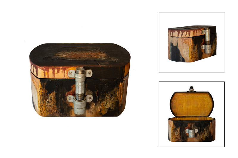 PIPE BOX<br /> Acrylic on wood box , varnished photocopies of newspaper, male and female pipes<br /> 5.5 in. (high) x 9.5 in. (wide) x 6.5 in. (deep)<br /> $ 250