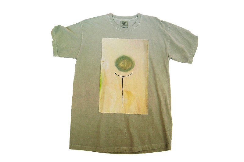 "TEE - ""Out of the Weeds"" on sandstone<br /> Art printed on cotton fabric, hand sewn onto 100% cotton shirt<br /> Medium  <br /> $ 75"