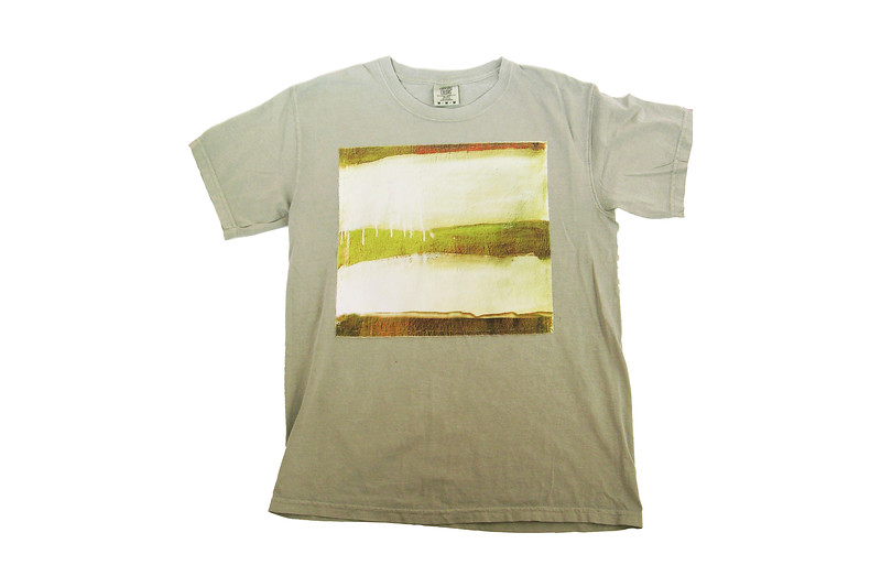 TEE - olive stripe on sandstone<br /> Art printed on cotton fabric, hand sewn onto 100% cotton shirt<br /> Medium  <br /> $ 75