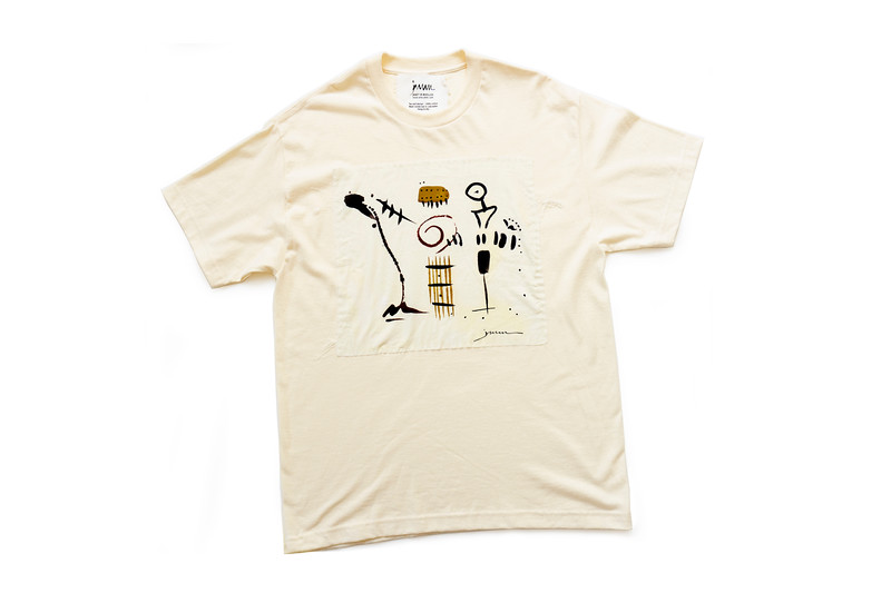 """TEE - """"Rap ' Roll"""" on natural<br /> Art printed on cotton fabric, hand sewn onto 100% cotton shirt<br /> Large"""