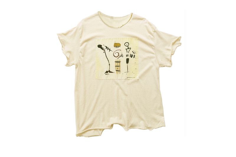 """TEE - """"Rap ' Roll"""" on natural<br /> Art printed on cotton fabric, hand sewn onto 100% cotton shirt, ripped<br /> Medium  -  24 in., measured from back neck to base"""