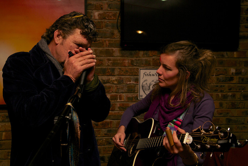 """Johan & Lizzie jamming together.  <a href = """"https://www.facebook.com/thefishwives"""" target = """"_blank"""">Fishwives</a>."""