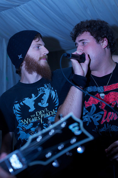 "<a href=""https://www.facebook.com/TDSMBband/"">The Devil Sent Me Back</a>'s Craig Ø Albers joining in on the action with Gareth Norval, vocalist for <a href=""https://www.facebook.com/forgetthefall/"">Forget the Fall</a>."