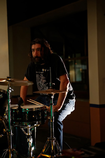 "Waiting in between songs....  Strato, drummer for <a href=""https://www.facebook.com/thefishwives"" target=""_blank"">The Fishwives.</a>"