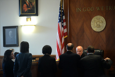 Tania Barricklo-Daily Freeman                      Ulster County Judge Donald Wiiams addresses the defense and prosecuting attornerys at the bench during jury selection Monday.