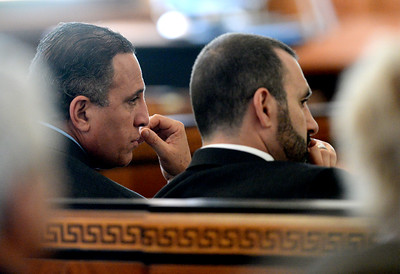 Tania Barricklo-Daily Freeman                      Giberto Nunez in Ulster County court Monday during jury slection proceedings. To the right is Joshua Dubin.