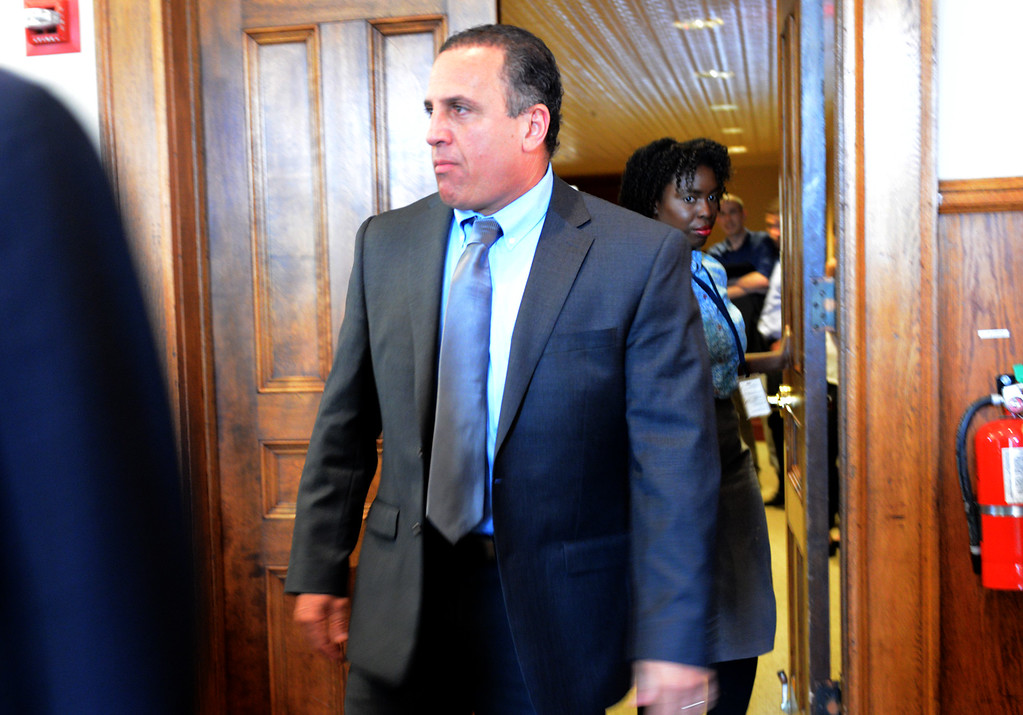. Tania Barricklo-Daily Freeman                      Gilberto Nunez enters the Ulster County courtroom Monday afternoon during jury selection.
