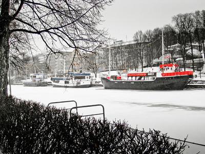 The frozen Aura river Turku Finland