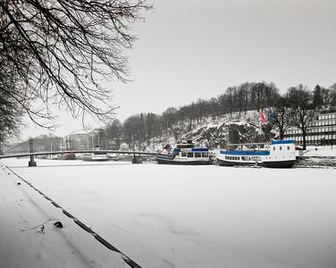 Frozen Aura river Turku Finland
