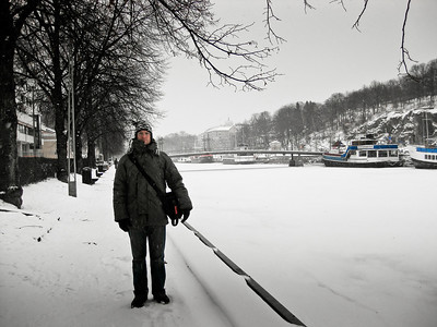 Ben on the bank of the frozen Aura river Turku Finland