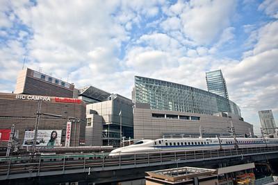 Tokyo International Forum with Shinkansen