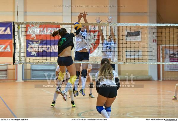 Quarti di finale: BGV Pontedera - CUS Siena 7º Trofeo Nazionale Under 16 Femminile - 5º Memorial Tomasso Sulpizi.  PalaSport Spello PG, 28 Dicembre 2015. FOTO: Maurizio Lollini © 2015 Volleyfoto.it, all rights reserved [id:20151228.DSC_4163]