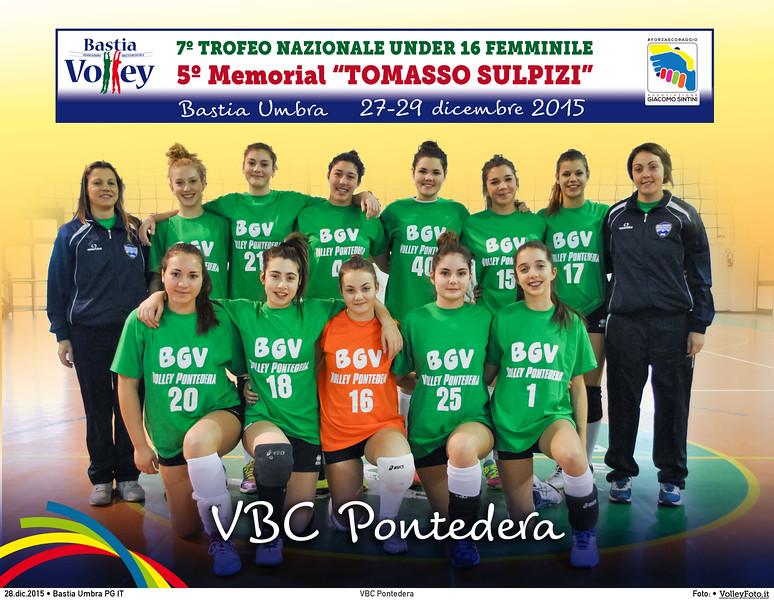 <h5>VBC Pontedera </h5>7º Trofeo Nazionale Under 16 Femminile / 5º Memorial Tomasso Sulpizi.  Bastia Umbra PG, 27-29 Dicembre 2015.