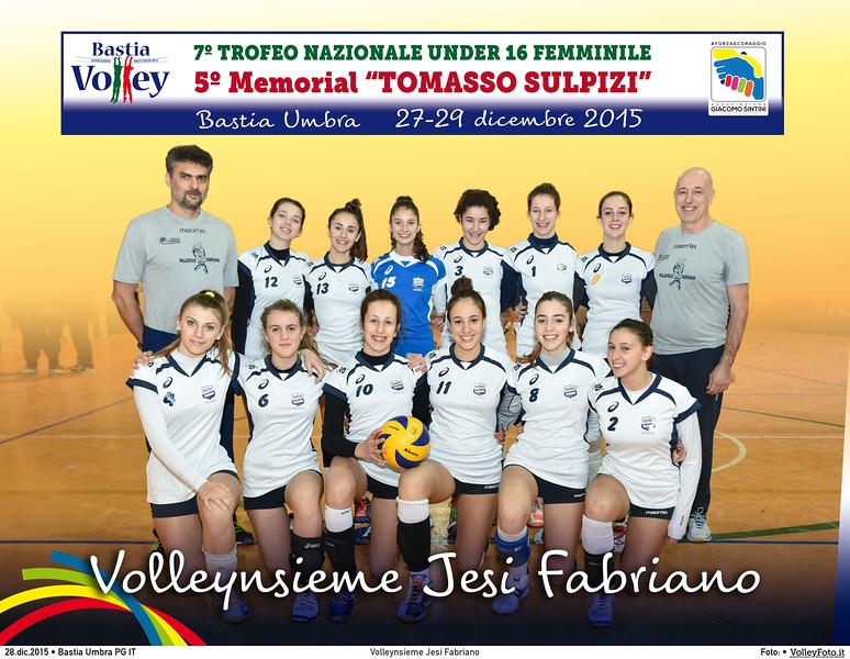 <h5>Volleynsieme Jesi Fabriano </h5>7º Trofeo Nazionale Under 16 Femminile / 5º Memorial Tomasso Sulpizi.  Bastia Umbra PG, 27-29 Dicembre 2015.