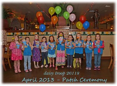 April 3, 2013 - GS Daisy Troop Patch Ceremony
