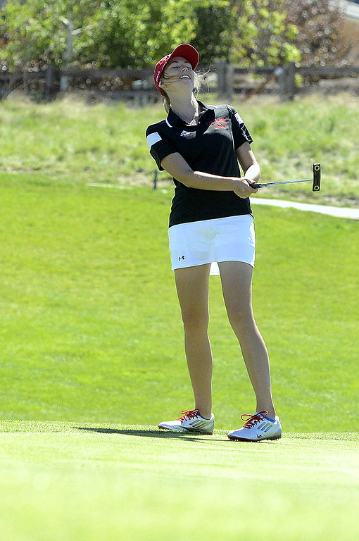 . Loveland\'s Hannah Doran reacts to leaving a putt shut short during the opening round of the 4A state golf tournament Monday at Colorado National Golf Club. Doran sits in eighth place after a round of 82, and the Indians have an 18-shot lead in the team race.